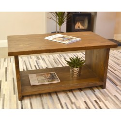 Solid Pine Coffee Table in a dark stain with modern straight full legs to a low shelf