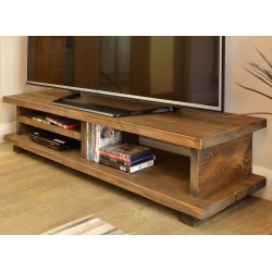 Solid Pine Low TV Unit in a dark satin with straight edge shelves