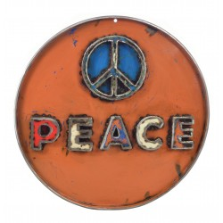 Metal sign with a cut out word peace welded on upcycled from disused oil drums