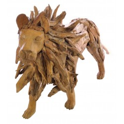 Ornamental lion made from reclaimed teak pieces and put together to create the lion