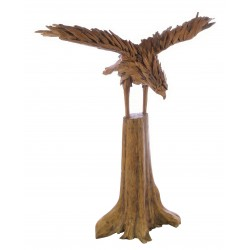Ornamental eagle on a stand made from reclaimed teak pieces and put together to create the eagle