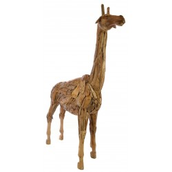 Ornamental giraffe made from reclaimed teak pieces and put together to create the giraffe