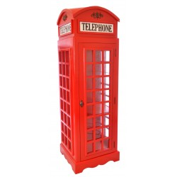 Wooden two shelf bookcase or display cabinet in the style of a vintage british telephone box
