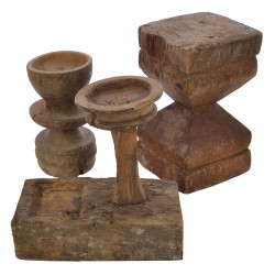 Wooden candlesticks in various chunky shapes and sizes