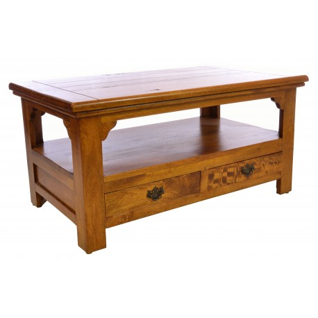 Solid Mango Wood Coffee Table with two drawers in a deep honey coloured finish