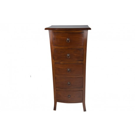 Mahogany Tallboy Chest of Drawers with 5 drawers in a dark wood finish