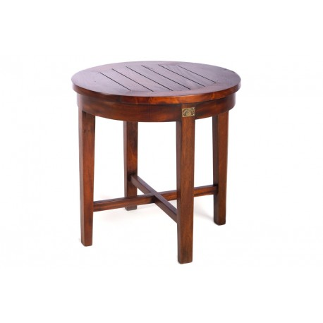 Mahogany Round Side Table with slatted top and a dark wood finish