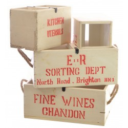 Set of 4 White Vintage Boxes with Lettering