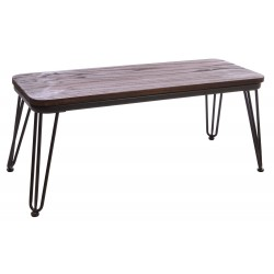 Dark Wood and Metal Hairpin Bench