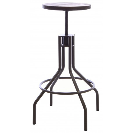 Steel and Elm adjustable stool with a dark grey steel frame and round dark solid wood seat on a screw thread adjuster