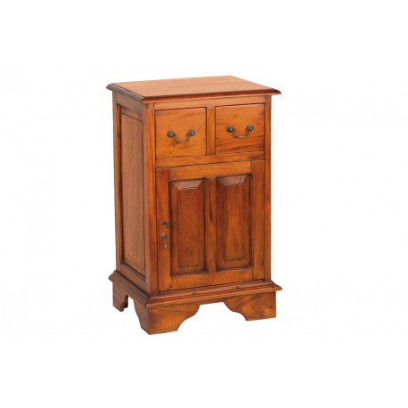 Solid Mahogany cabinet with two drawers and brass drop handles