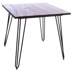 Dark Wood and Metal Square Cafe Table