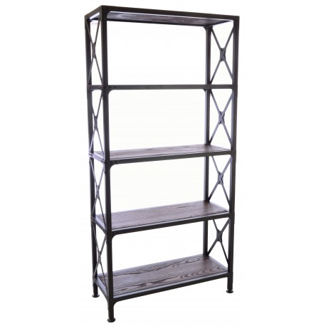 Steel and Elm Open bookcase or room divider with dark grey steel braced frame and solid dark wood shelves