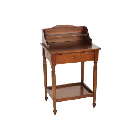 Mahogany Bureau with double top shelf, single drawer and lower shelf all in a dark mahogany shelf