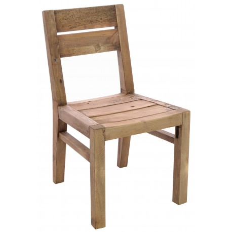 Solid wood dining chair made from reclaimed pine with all the age distressing and wood worm holes showing