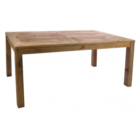 Solid wood dining table made from reclaimed pine with plank design top seats 8 finished with natural distressing