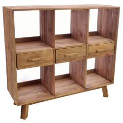 Solid wood 6 hole cube bookcase with 3 central drawers made from reclaimed pine with aged distressing and worm holes
