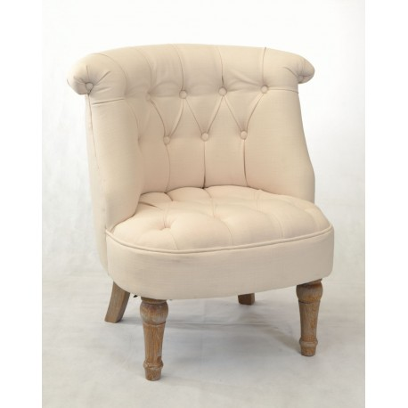 White Bedroom Chair with buttoned padding and washed solid wood legs