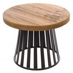 Solid wood and metal round lamp table made with reclaimed pine for the top and powder coated metal base