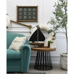 Fair Isle Round Lamp Table with Metal Base - out of stock