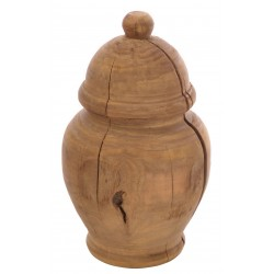Solid wood medium turned urn ornament made from reclaimed pine