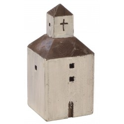 Large white square church ornament in the style of mediterranean church made from reclaimed pine