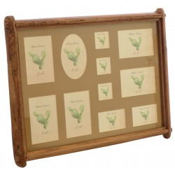 Multi picture photo frame with beige background in a reclaimed pine frame