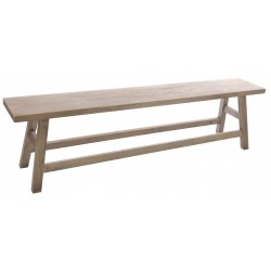 Trestle style bench made from solid wood with a stripped back wood finish