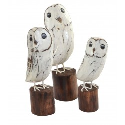 Set of 3 wooden white owls on a wood log style stand