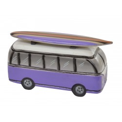 Wooden ornament depicting a Purple Camper Van with Surfboard on the roof