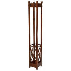 Square coat rack made from solid mahogany with a umbrella holder at the bottom and eight hooks round the top