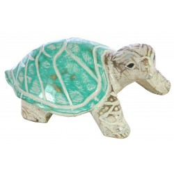 Wooden turquoise turtle ornament