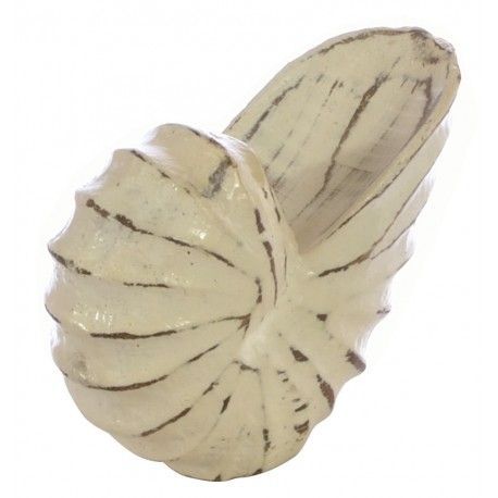 Small White Wooden Shell Ornament