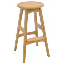Solid wood bar stool with a plain wood finish retro rounded cornered legs