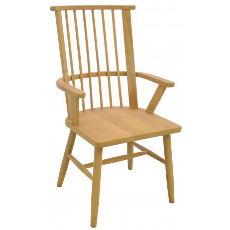 Solid wood carver chair with bar back continuous arm and solid wood seat finished in a plain wood finish