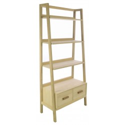 Solid wood bookcase with two drawers and waterfall style shelves in a plain wood finish