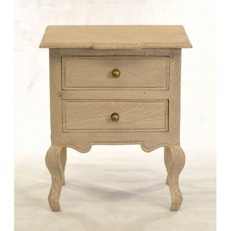 French Style Bedside Table with a distressed finish and cabriole legs and thumbnail carving