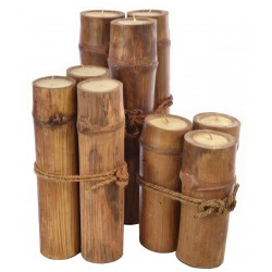 Group of 3 candles made from bamboo one of each large, medium and small size