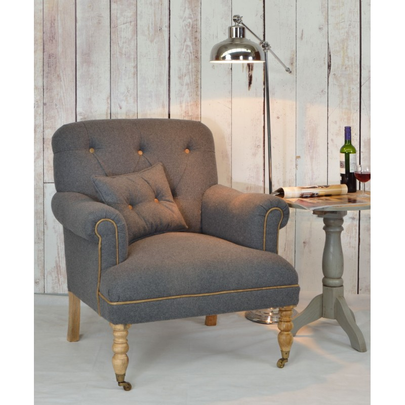 Grey Lounge Armchair Made With Mango Wood And Cotton And Wool Fabric  Including Small Cushion. Loading Zoom