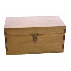 Small solid mango wood storage chest with iron handles and padlock clasp finished in a light oak finish