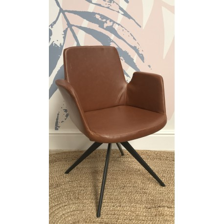 Modern design style faux leather armchair with a metal anged leg frame base