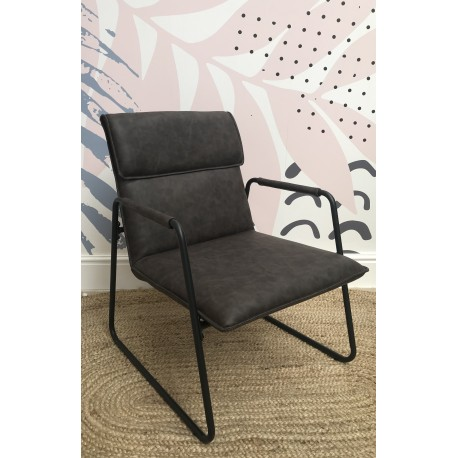 Steel and faux leather armchair with a dark grey tubular steel frame and dark grey faux leather seat