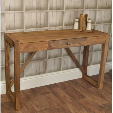 Reclaimed Pine solid wood single drawer console table with a frame leg base