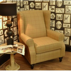 Cromarty Brown Faux Leather & Tweed Wing Back Chair