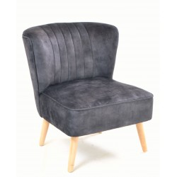Charcoal coloured velvet covered accent chair or bedroom chair with wooden legs