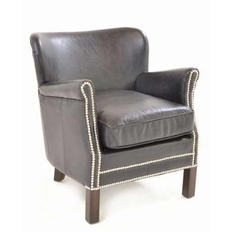 Vintage Leather professor or club chair with silver coloured studding and smooth black leather