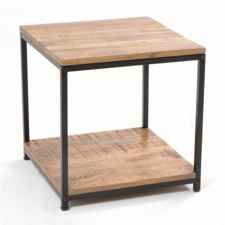 Open lamp Table with laquered Mango Wood top and single low shelf and black painted steel frame
