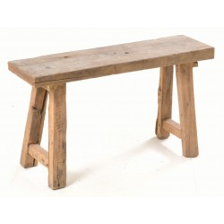 Solid teak stool with a rustic finish and splayed solid teak legs