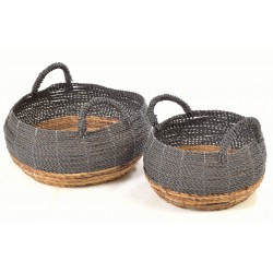 Set of 2 hand woven stackable curved baskets with natural base , black top and handles