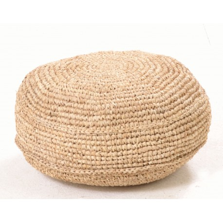Hand woven round footstool or pouffe